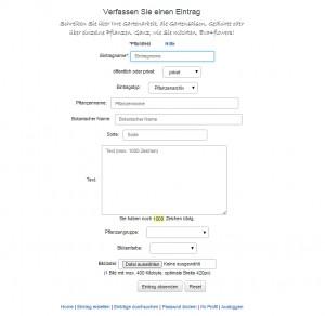 mein-pflanzenarchiv.de - Eintragsformular