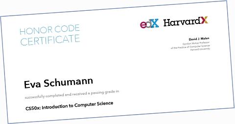 Zertifikat Beispiel edX CS50x
