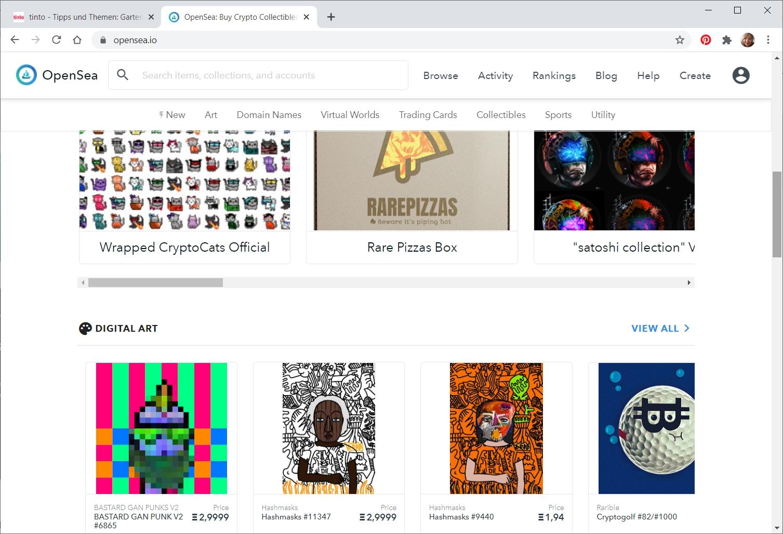 Screenshot vom NFT-Marktplatz OpenSea